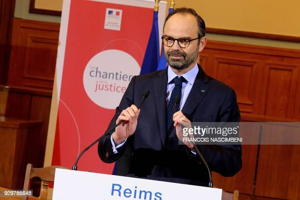 French Prime Minister Edouard Philippe gives a speech to present the axes of justice reform to magistrates at the Tribunal de grande instance of...