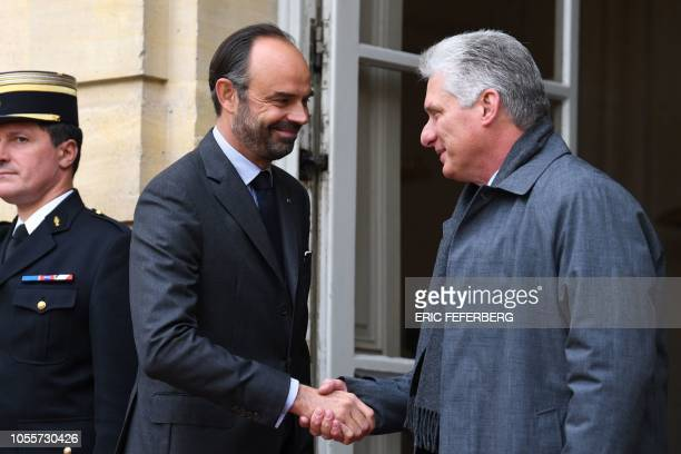 French Prime Minister Edouard Philippe greets President of Cuba Miguel DíazCanel Bermúdez on October 31 2018 in Paris