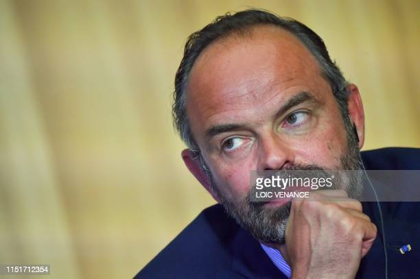 French Prime Minister Edouard Philippe holds a joint press conference with his Russian counterpart, during an official visit, in Le Havre, western...