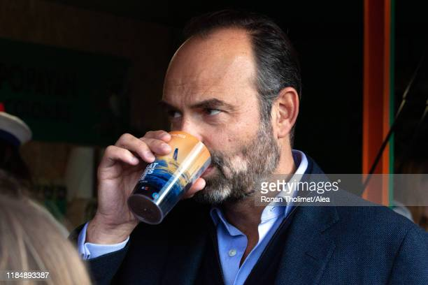 French Prime Minister Edouard Philippe is enjoying a coffee in the race village during prestart of the Transat Jacques Vabre 2019 on October 25 2019...