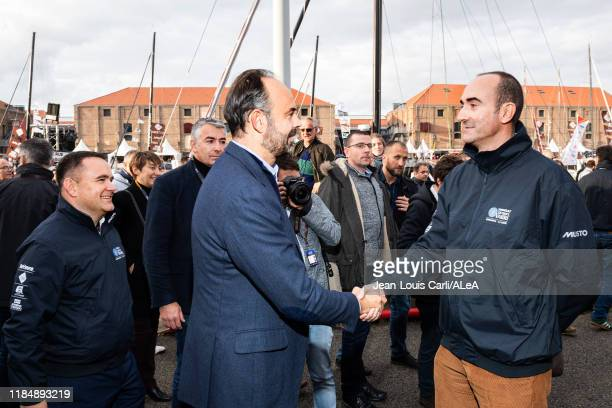 French prime minister Edouard Philippe is meeting Juan Amat President of JDE during prestart of the Transat Jacques Vabre 2019 on October 25 2019 in...