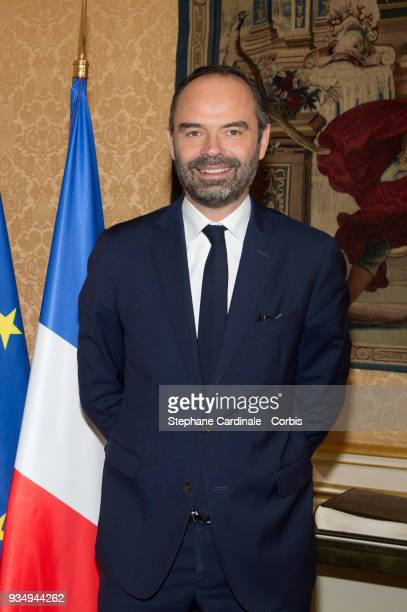 French Prime Minister Edouard Philippe is seen at the Hotel de Matignon prior to a FranceLuxembourg Intergovernmental Seminar on March 20 2018 in...