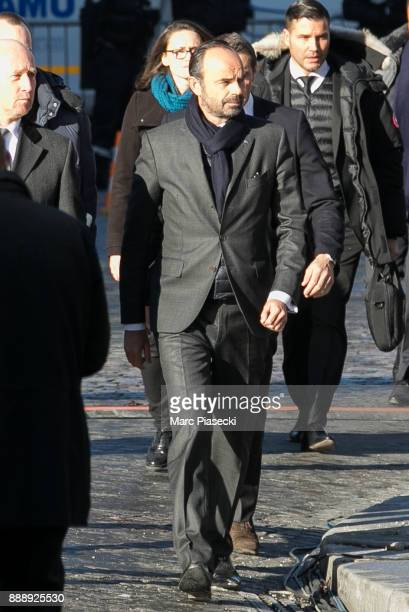 French Prime minister Edouard Philippe is seen during Johnny Hallyday's funerals at Eglise De La Madeleine on December 9 2017 in Paris France France...