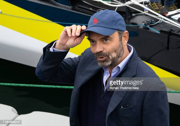 French Prime Minister Edouard Philippe is visiting the Imoca Apivia during prestart of the Transat Jacques Vabre 2019 on October 25 2019 in Le Havre...