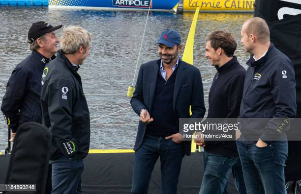French Prime Minister Edouard Philippe is visiting the Imoca Apivia with from L to R JeanBernard Le Boucher Macif sea activities Director skippers...