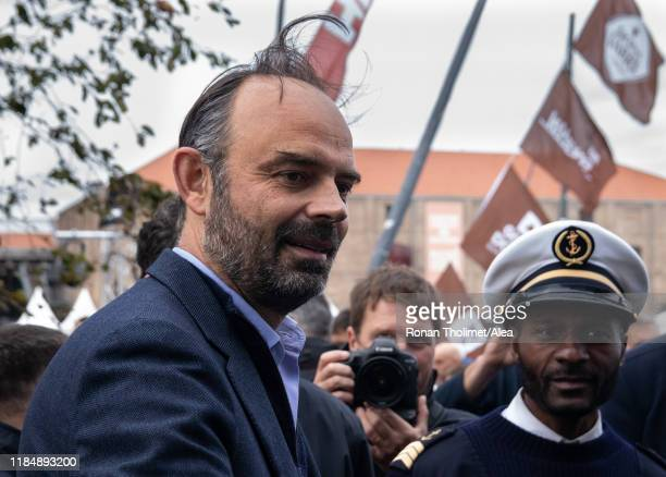 French Prime Minister Edouard Philippe is visiting the race village during prestart of the Transat Jacques Vabre 2019 on October 25 2019 in Le Havre...