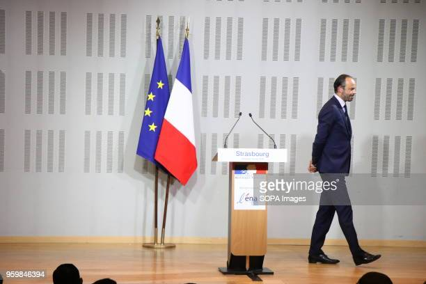 French Prime Minister Edouard Philippe leaves after speaking during a visit at ENA in Strasbourg.