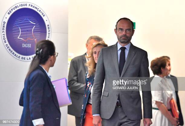 French Prime Minister Edouard Philippe leaves after speaking during the presentation of an antiterrorism plan at the DGSI at the France's DGSI...