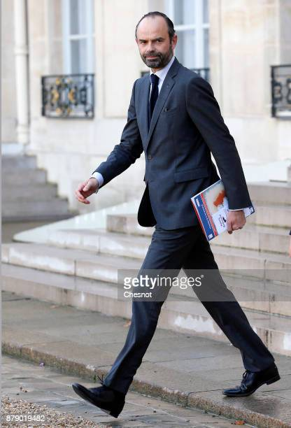 French Prime minister Edouard Philippe leaves the Elysee Palace after a meeting as part of the International Day for the Elimination of Violence...