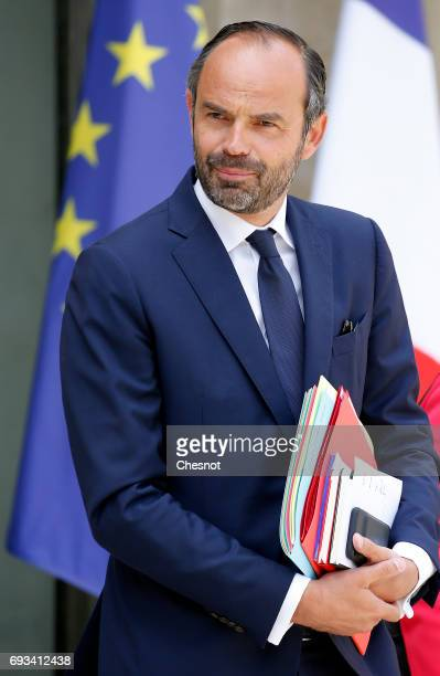 French Prime minister Edouard Philippe leaves the Elysee Presidential Palace after weekly cabinet meeting on June 07 2017 in Paris France French...