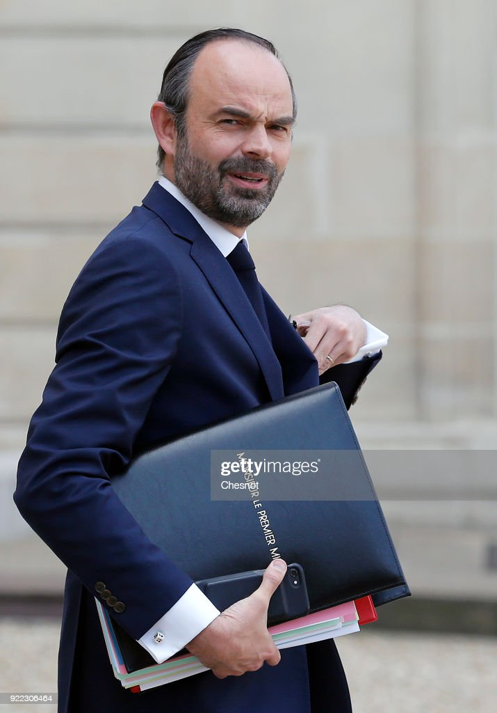 French Prime minister, Edouard Philippe leaves the Elysee Presidential Palace after a weekly cabinet meeting on February 21, 2018 in Paris, France. Two French soldiers were killed today in Mali during an operation of the French army.