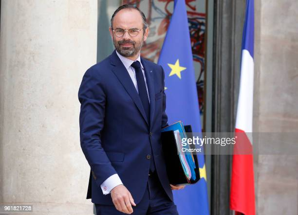 French Prime minister, Edouard Philippe leaves the Elysee Presidential Palace after a weekly cabinet meeting on May 23, 2018 in Paris, France.
