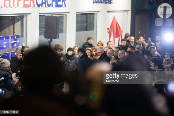 French Prime Minister Edouard Philippe light a candle during a gathering organized by the Representative Council of France's Jewish Associations...