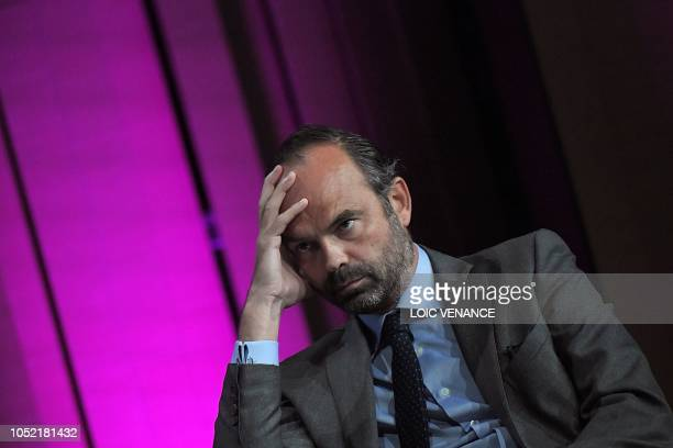 TOPSHOT French Prime minister Edouard Philippe looks on at the 'Congres de l'Union nationale des centres communaux d'action sociale' in Nantes...