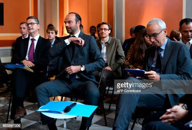 French Prime Minister Edouard Philippe looks on before receiving a report on the Grand Investment Plan by French economist Jean PisaniFerry on...