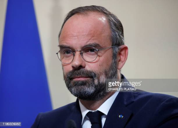 French Prime Minister Edouard Philippe looks on during a press conference on immigration at the Hotel Matignon in Paris France on November 6 2019...