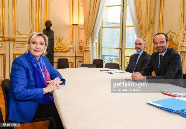 French Prime Minister Edouard Philippe meets with French farright Front National party president Marine Le Pen on November 29 2017 at the Hotel...
