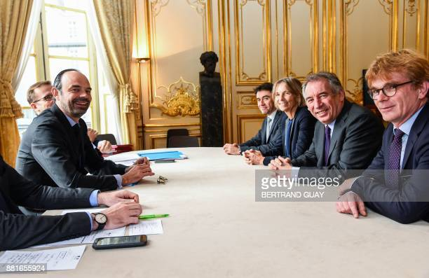 French Prime Minister Edouard Philippe meets with President of the MoDem centrist party Francois Bayrou MoDem First VicePresident Marielle de Sarnez...