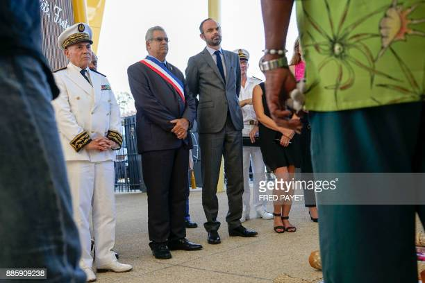 French Prime Minister Edouard Philippe MontDore mayor Eric Gay and High Commissioner in New Caledonia Thierry Lataste attend the inauguration of a...