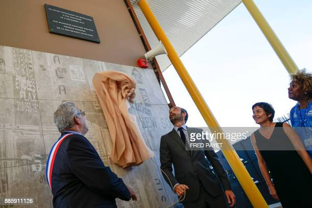 French Prime Minister Edouard Philippe MontDore mayor Eric Gay and French Overseas Minister Annick Girardin inaugurate a high school on December 5...