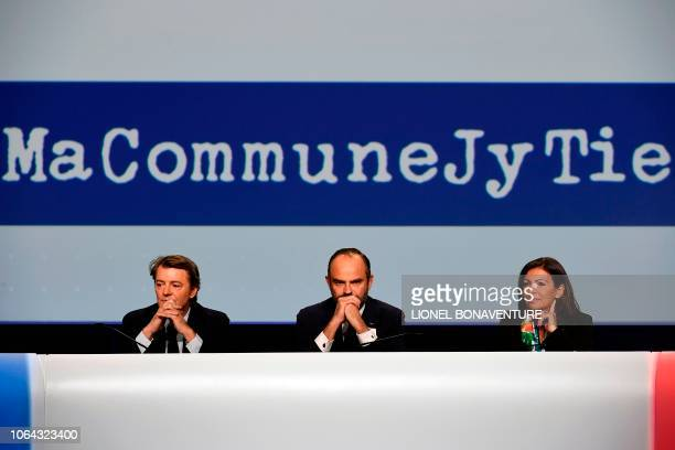 French Prime Minister Edouard Philippe , next to Troyes Mayor and President of the Association of Mayors of France Francois Baroin and Paris Mayor...