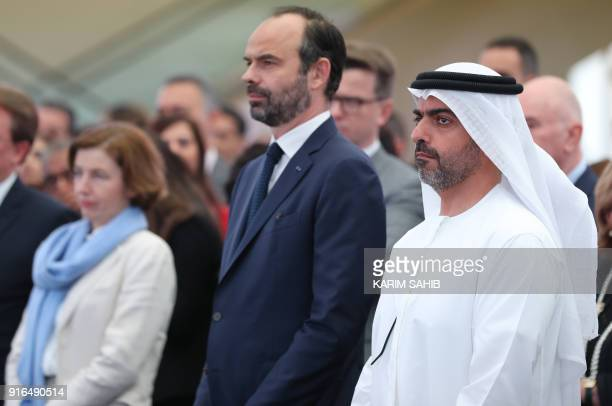 French Prime Minister Edouard Philippe poses with Shiekh Hamed Bin Zayed Al Nahyan CEO of Abu Dhabi Investment Authority during inauguration of BNP...