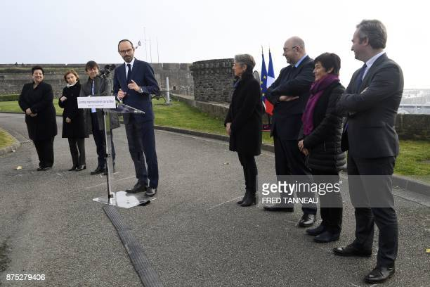 French Prime Minister Edouard Philippe President of French La Republique en Marche parliamentary group Richard Ferrand French mayor of Brest Francois...