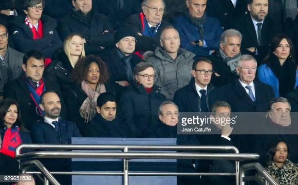 French Prime Minister Edouard Philippe President of PSG Nasser Al Khelaifi President of Real Madrid Florentino Perez former French President Nicolas...
