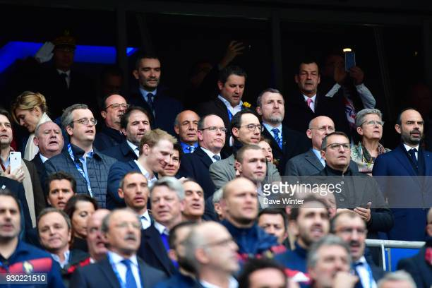 French prime minister Edouard Philippe President of the French Rugby Federation Bernard Laporte Prince Albert of Monaco former French president...