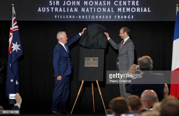 French Prime Minister Edouard Philippe R and Australia's Prime Minister Malcolm Turnbull unveil a plaque after the opening of the Sir John Monash...
