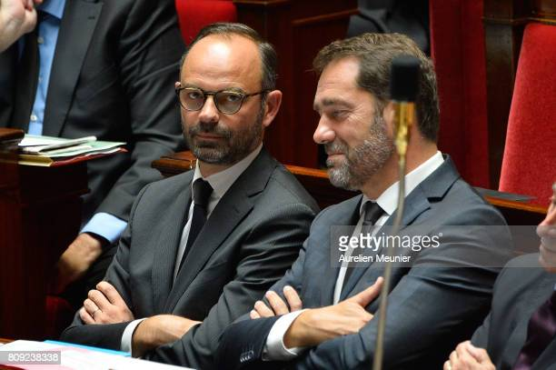 French Prime Minister Edouard Philippe reacts as Ministers answer deputies during the weekly questions to the government at Assemblee Nationale on...