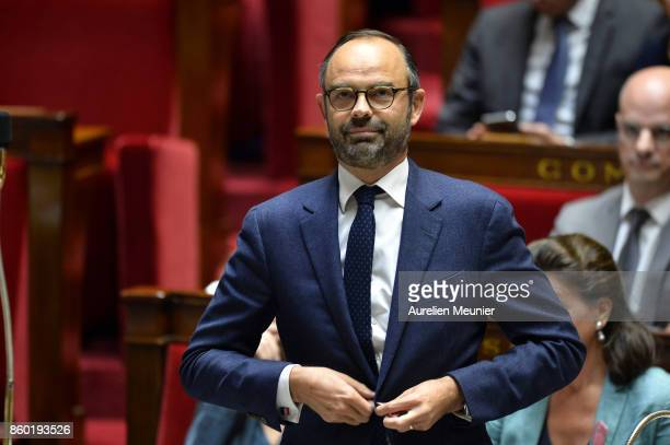 French Prime Minister Edouard Philippe reacts as Ministers answer deputies during the weekly questions to the government at the Assemblee Nationale...