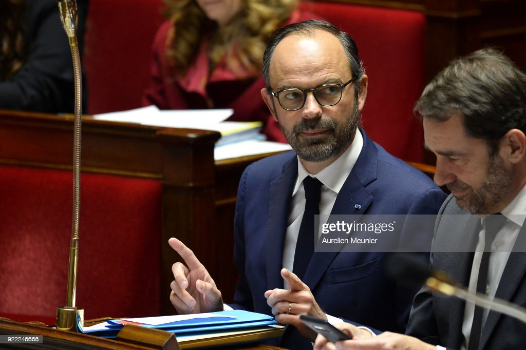 French Prime Minister Edouard Philippe reacts as Ministers answer deputies questions during a session of questions to the government at Assemblee Nationale on February 21, 2018 in Paris, France.