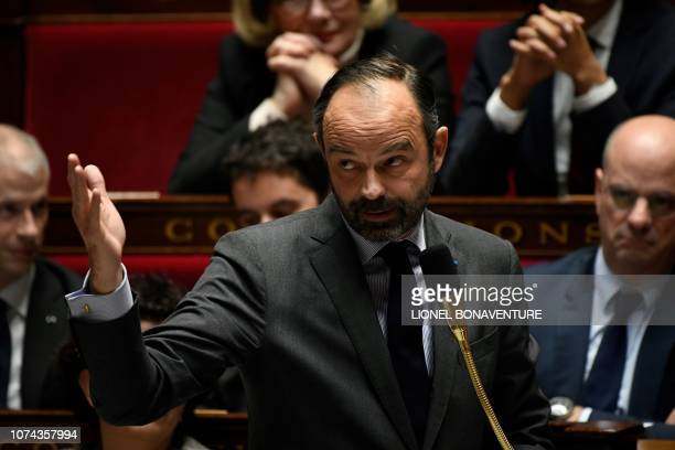 French Prime Minister Edouard Philippe reacts during a session of questions to the government at the National Assembly in Paris on December 18 2018