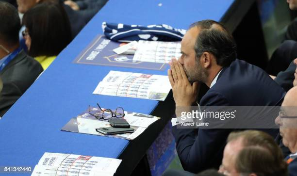 French prime minister Edouard Philippe reacts during the FIFA 2018 World Cup Qualifier between France and Netherlands at Stade de France on August 31...