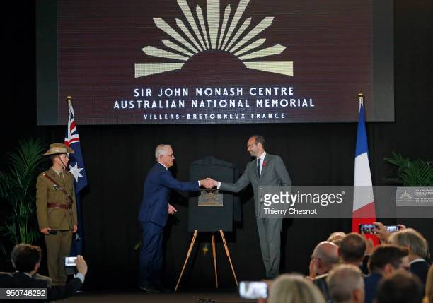 French Prime Minister Edouard Philippe shakes hands with Australia's Prime Minister Malcolm Turnbull after the opening of the Sir John Monash Centre...