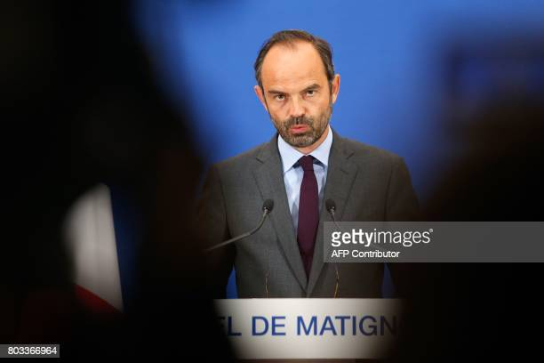 French Prime Minister Edouard Philippe speaks during a press conference concerning the government's Court of Auditors on June 29 2017 at the Hotel de...