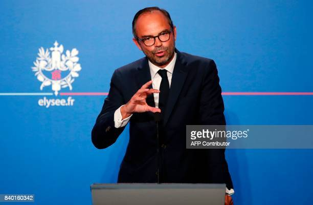French Prime Minister Edouard Philippe speaks during a press conference following the first government meeting after the summer break at the Elysee...