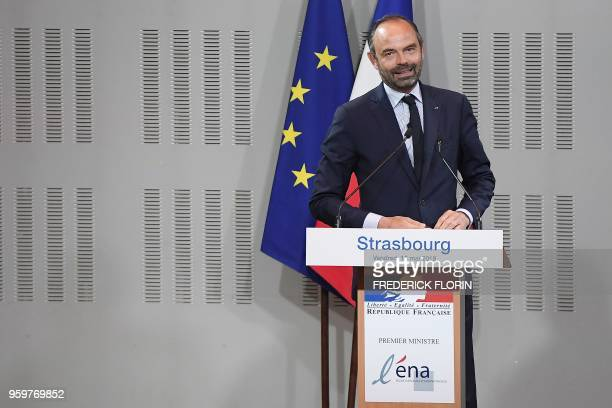 French Prime Minister Edouard Philippe speaks during a visit at the Ecole Nationale d'Administration on May 18, 2018 in Strasbourg, eastern France.