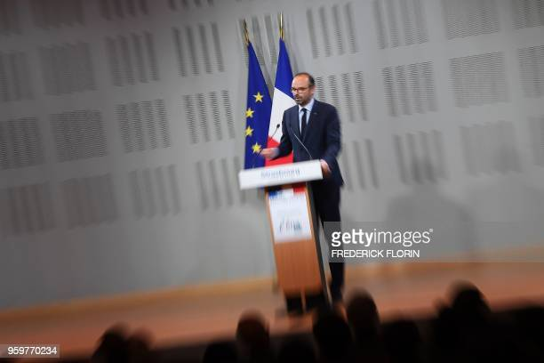 French Prime Minister Edouard Philippe speaks during a visit at the Ecole Nationale d'Administration on May 18 2018 in Strasbourg eastern France