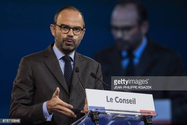 French Prime Minister Edouard Philippe speaks during the council of the Republic on the Move party at Eurexpo Lyon on November 18 2017 / AFP PHOTO /...