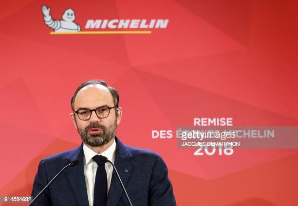 French Prime Minister Edouard Philippe speaks during the Michelin guide award ceremony at La Seine Musicale in BoulogneBillancourt near Paris on...