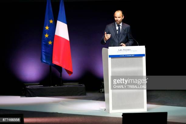 French Prime Minister Edouard Philippe speaks during the National Convention of the Sea on November 21 2017 in Le Havre northwestern France TRIBALLEAU