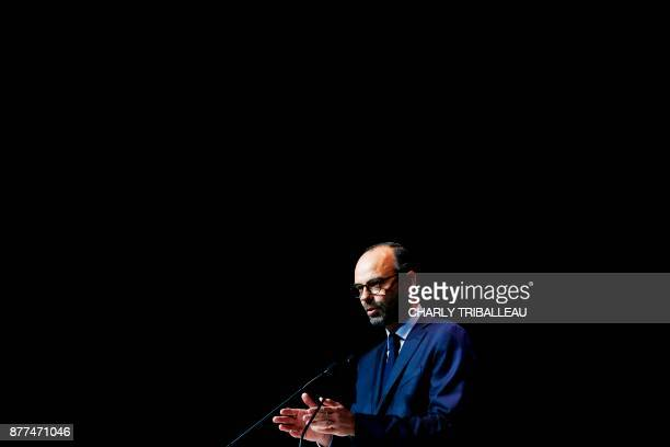 French Prime Minister Edouard Philippe speaks during the opening of the National Convention of the Sea on November 21 2017 in Le Havre northwestern...