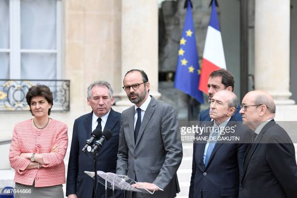 French Prime Minister Edouard Philippe speaks flanked by French Minister of the Armed Forces Sylvie Goulard French Minister of Justice Francois...
