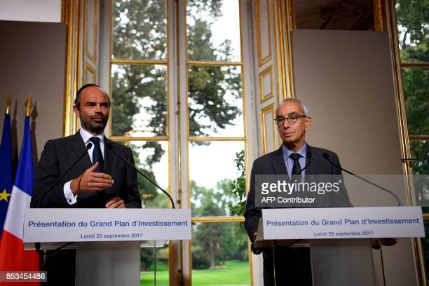 French Prime Minister Edouard Philippe speaks following a report by French economist Jean PisaniFerry on the Grand Investment Plan for 20182022 on...