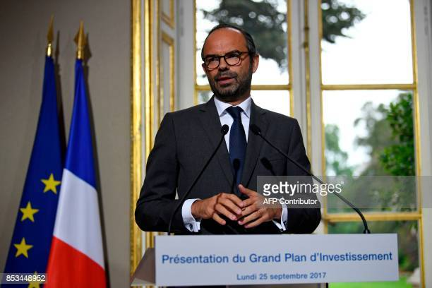 French Prime Minister Edouard Philippe speaks following a report French economist Jean PisaniFerry on the Grand Investment Plan for 20182022 on...