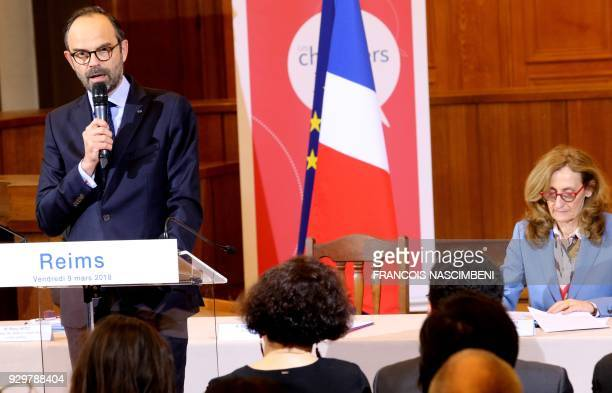 French Prime Minister Edouard Philippe speaks next to French Justice Minister Nicole Belloubet as they present the axes of justice reform to...