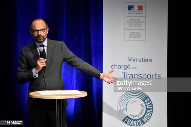 French Prime Minister Edouard Philippe speaks on April 12 2019 in Grans southeastern France during the first stage of the «France Mobilites» tour...