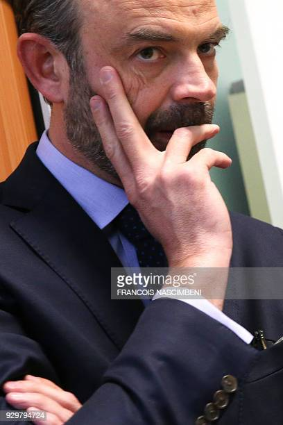 French Prime Minister Edouard Philippe stands at the Tribunal de grande instance of Reims to present the axes of justice reform to magistrates on...